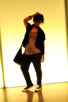black Thrift Store jacket - black Gucci purse - gray Zara jeans - brown Zara top