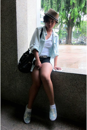 blue cotton on blazer - white Forever 21 t-shirt - black Zara shorts - blue Topm