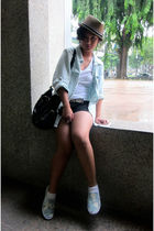 blue cotton on blazer - white Forever 21 t-shirt - black Zara shorts - blue Topm