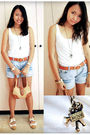 White-topshop-top-orange-sm-department-store-belt-blue-shorts-beige-shoes-