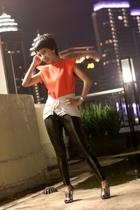 triplets top - Zara leggings - PedderRed shoes