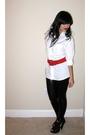 White-random-fron-hong-kong-shirt-black-express-leggings-red-vintage-belt-