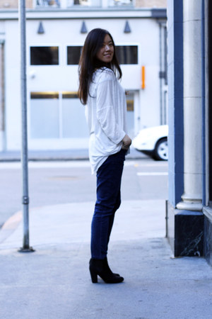 black asos boots - white top - navy BDG pants