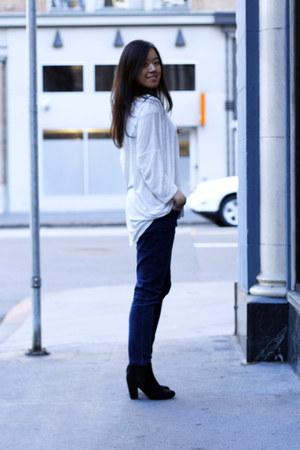 black asos boots - white top - navy BDG pants