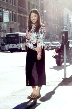 ivory floral print Zara blouse - black sheer Zara skirt