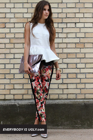 white peplum top - black skirt