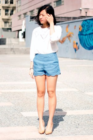 Sky-blue-scalloped-pynk-nylon-shorts-white-the-whitepepper-blouse