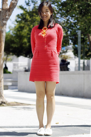 hot pink asos dress - white French Connection shoes - yellow Number A sunglasses