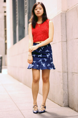 navy asos skirt - blue vintage shoes - brown vintage coat - red vintage top