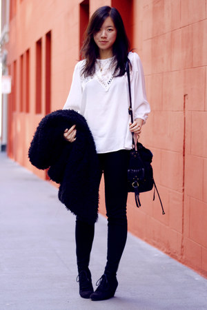 black shaggy vintage coat - black bag - black Zara wedges