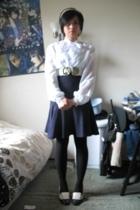 vintage from Ebay blouse - American Apparel skirt - tights - H&M belt - vintage