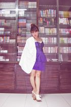 purple dress - white blazer - white junejulia clogs
