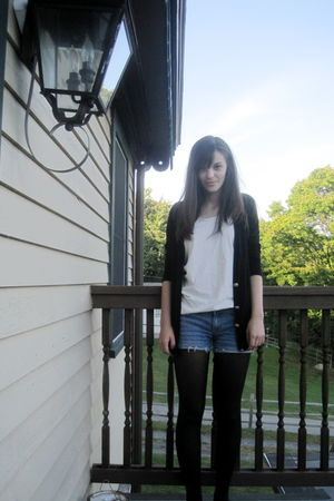 blue Forever 21 shorts - black delias cardigan - black Target tights - black Urb