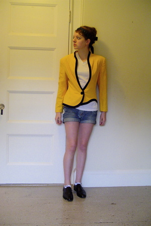 yellow thrifted jacket - brown oxford thrifted shoes