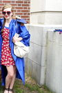 Blue-graduation-robe-dress-red-made-by-me-dress-red-uo-sunglasses-black-uo
