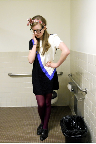 pink DIY accessories - black  glasses - white vintage dress - purple H&M tights