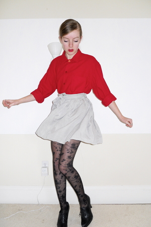 red vintage shirt - black Nine West shoes - black lace H&M tights