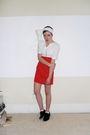 Red-vintage-dress-white-diy-accessories-silver-vintage-necklace-brown-thri