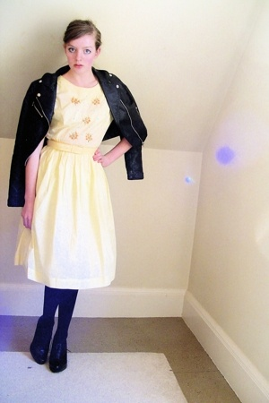 H&amp;M jacket - vintage dress - tights - Nine West shoes