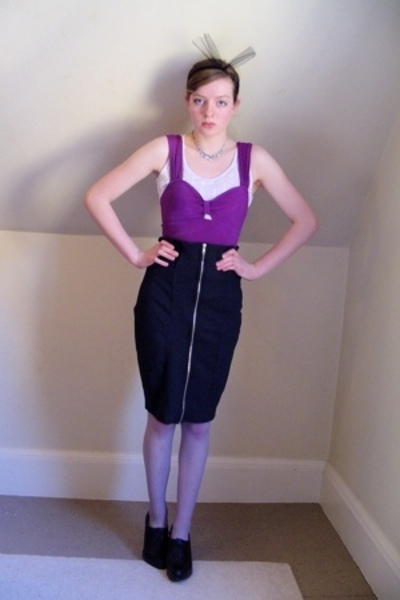 Urban Outfitters swimwear - DIY top - H&M skirt - thrifted stockings - Nine West