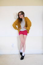 yellow vintage sweater - white sailor stripe thrifted sweater