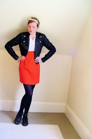 H&M jacket - thrifted dress - CVS tights - thrifted shoes - diy accessories - my