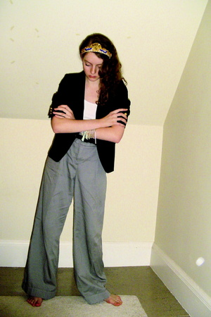 thrifted blazer - Express pants - H&amp;M top - from Portobello Road accessories - b