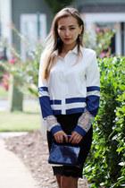 black lace OASAP skirt - white lace OASAP blouse - blue OASAP earrings