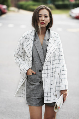white Hauterogue coat - heather gray Chicwish blazer