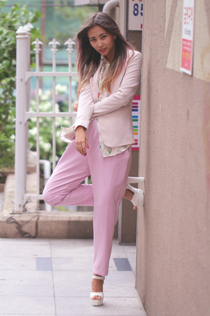 bubble gum Stylenanda pants - white Zappos heels