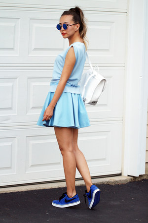 blue nike shoes - white romwe bag - sky blue blackfive top