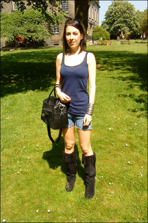 blue Topshop top - blue River Island shorts - black Primark boots - black Topsho
