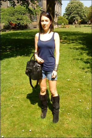 blue Topshop top - blue River Island shorts - black Primark boots - black Topsho