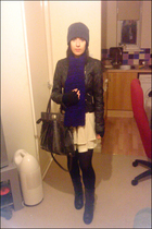 black new look jacket - beige Topshop skirt - black Ebay boots - purple handmade