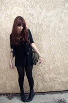black thrifted vest - black thrifted boots - black thrifted dress - green thrift