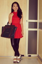 red scuba Topshop dress - black liquid Topshop leggings - navy Celine bag