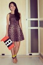 yellow neon Zara sandals - brown Topshop dress - orange H&M purse