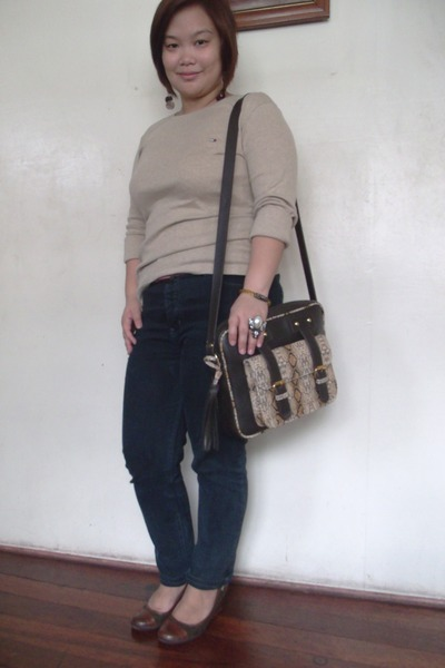 brown bag - light brown given by sister Tommy Hilfiger top - black jumper