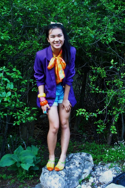 brown vintage shoes - purple vintage value village blazer - blue Old Navy shorts