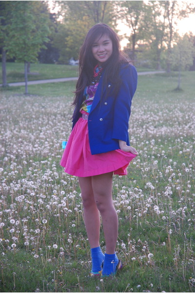 pink homemade skirt - blue thrifted blazer - purple vintage top - yellow vintage