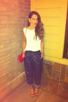 navy thrift pants - red chanel vintage purse - ivory J Crew top