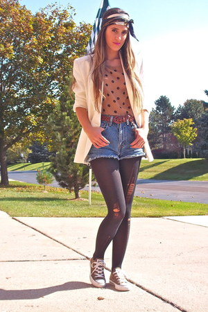 brown TJMaxx top - white vintage blazer - navy Gucci scarf - blue Levis shorts