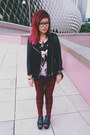 Brick-red-checkered-jeans-black-forever-21-jacket-black-h-m-shirt