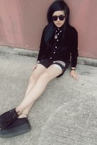 black creepers shoes - black velvet shirt shirt - black studded shorts shorts