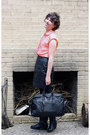 Black-durango-boots-black-marshalls-bag-black-goodwill-skirt-coral-j-crew-