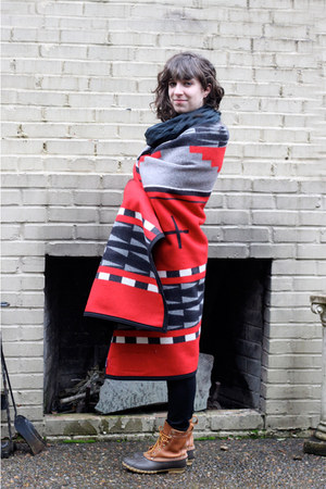tawny LL Bean boots - red Pendleton coat - black thrifted scarf