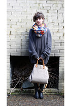 colorful scarf H&M scarf - black cowboy boots Durango boots
