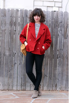 ruby red vintage jacket - camel sam edelman boots - black Saint James shirt