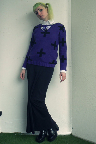 deep purple c&a sweater - black vagabond shoes - black New Yorker skirt