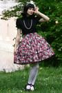 Ruby-red-lolita-handmade-rabbit-heart-shop-skirt-black-anna-house-blouse
